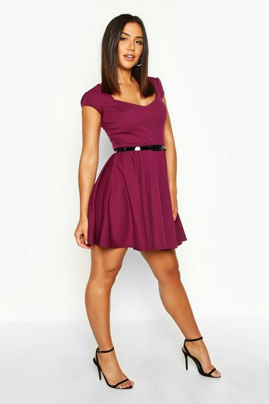 Grape Sweetheart Neck Skater Dress