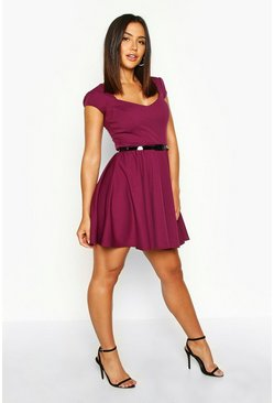 Womens Grape Sweetheart Neck Skater Dress