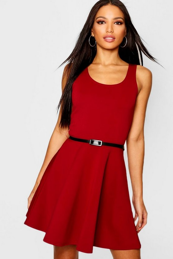 Womens Berry Scoop Neck Skater Dress