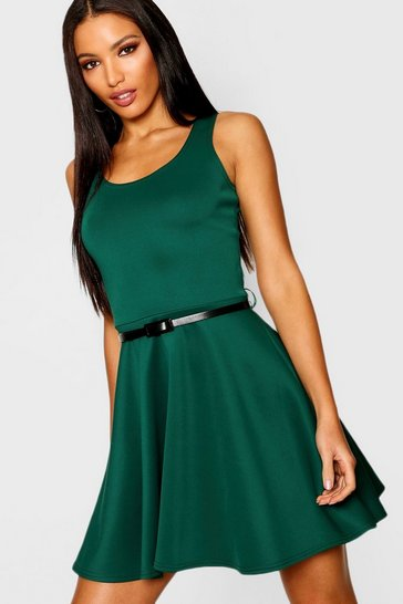 Womens Bottle Scoop Neck Skater Dress