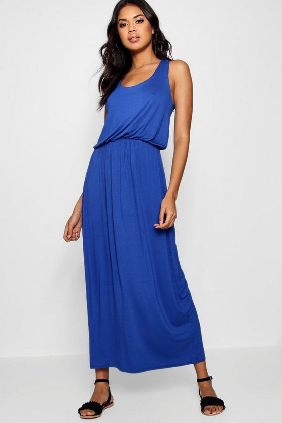 Womens Cobalt Racer Back Maxi Dress