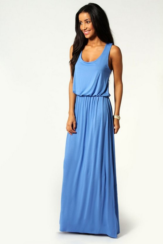 Womens Denim-blue Racer Back Maxi Dress