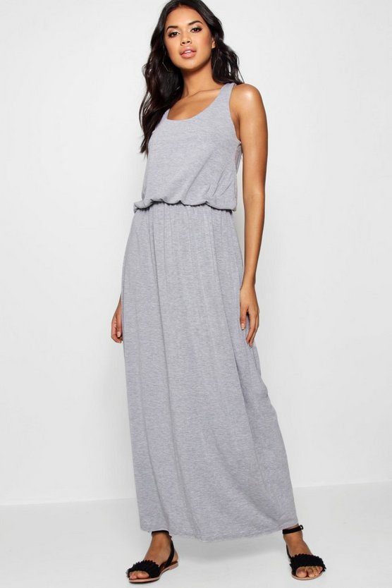 Womens Grey marl Racer Back Maxi Dress