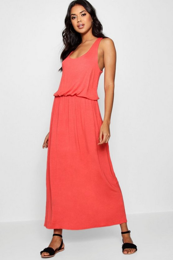 Womens Orange Racer Back Maxi Dress