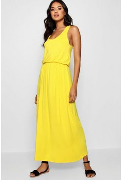Womens Yellow Racer Back Maxi Dress