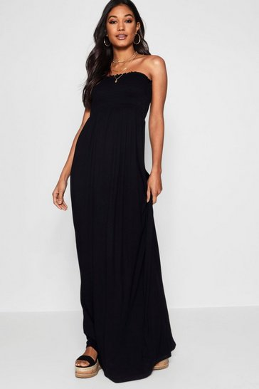 Black Shirred Bandeau Maxi Dress
