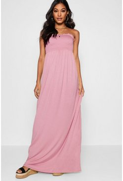 Dusky pink Shirred Bandeau Maxi Dress