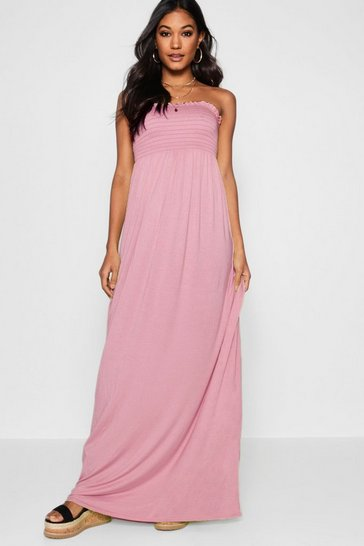 Womens Dusky pink Shirred Bandeau Maxi Dress