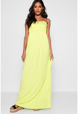 Lime Shirred Bandeau Maxi Dress