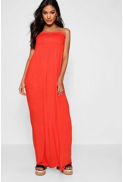 Womens Orange Shirred Bandeau Maxi Dress