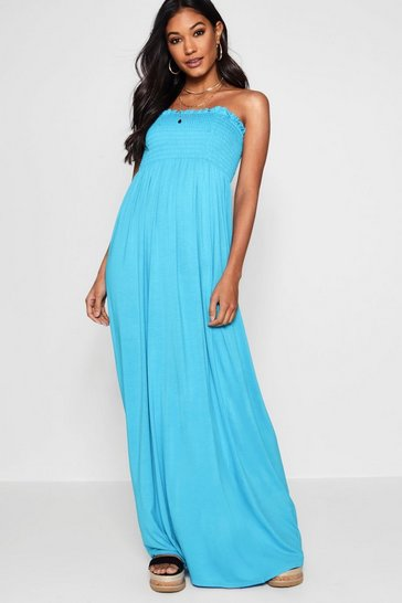 Womens Turquoise Shirred Bandeau Maxi Dress