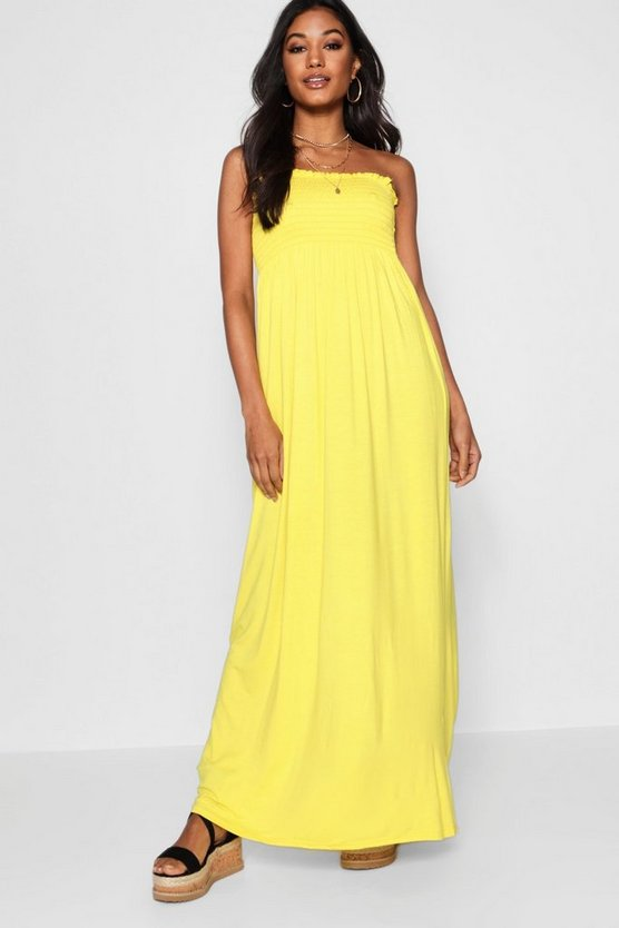 Womens Yellow Shirred Bandeau Maxi Dress
