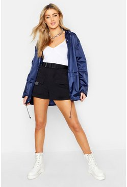 Navy Hooded Mac