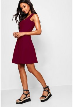 Womens Berry Seam Detail Skater Dress