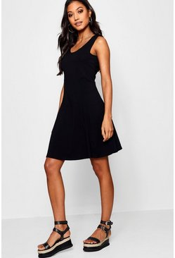 Black Seam Detail Skater Dress
