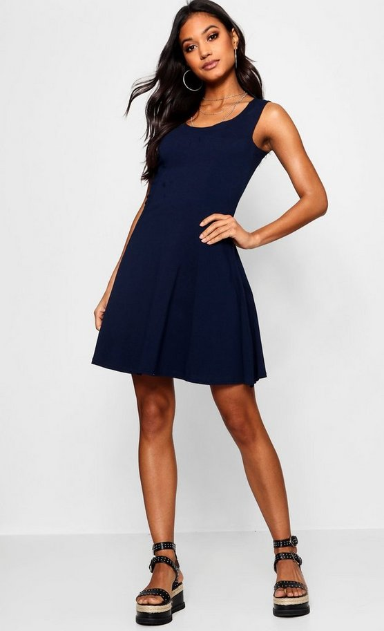 Womens Navy Seam Detail Skater Dress