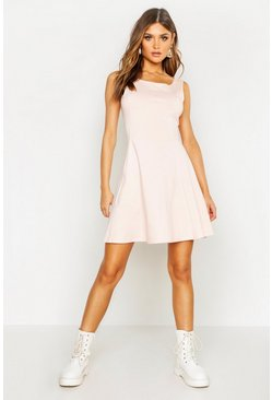 Womens Nude Seam Detail Skater Dress