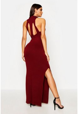 Womens Berry Turtle Neck Cut Out Back Detail Maxi Dress