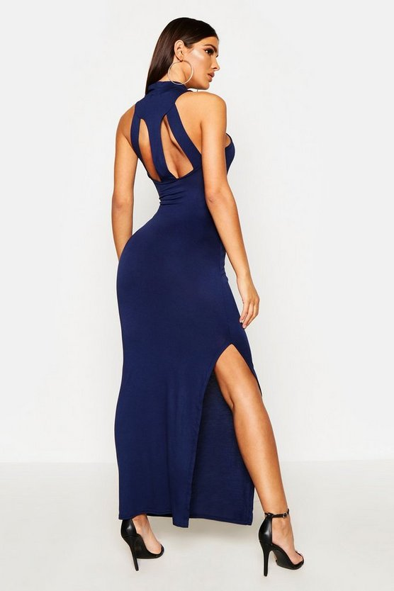 Womens Navy Turtle Neck Cut Out Back Detail Maxi Dress