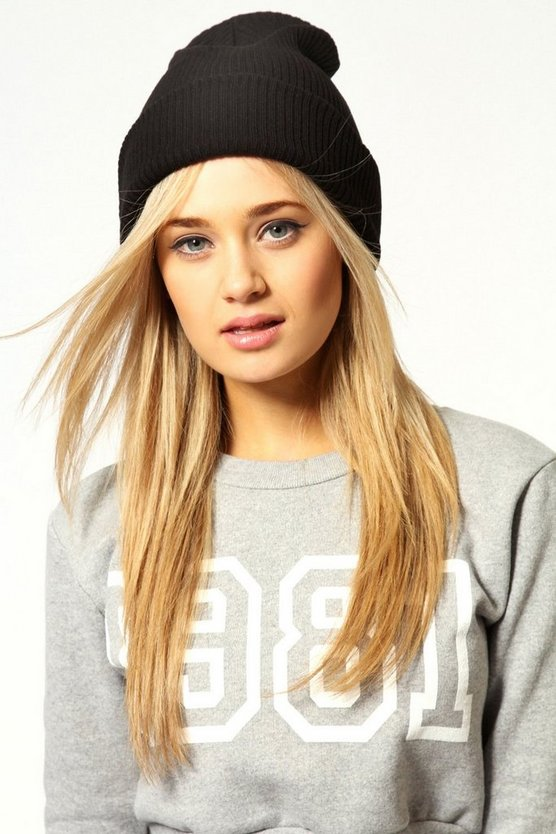 Womens Holly Ribbed Slouch Boyfriend Beanie