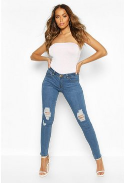 Womens Blue Low Rise Ripped Knee Skinny Jeans