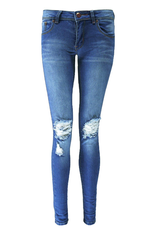 boohoo damen loren skinny jeans in distressed optik mit. Black Bedroom Furniture Sets. Home Design Ideas