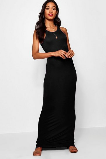 Womens Black Racer Front Sleeveless Maxi Dress