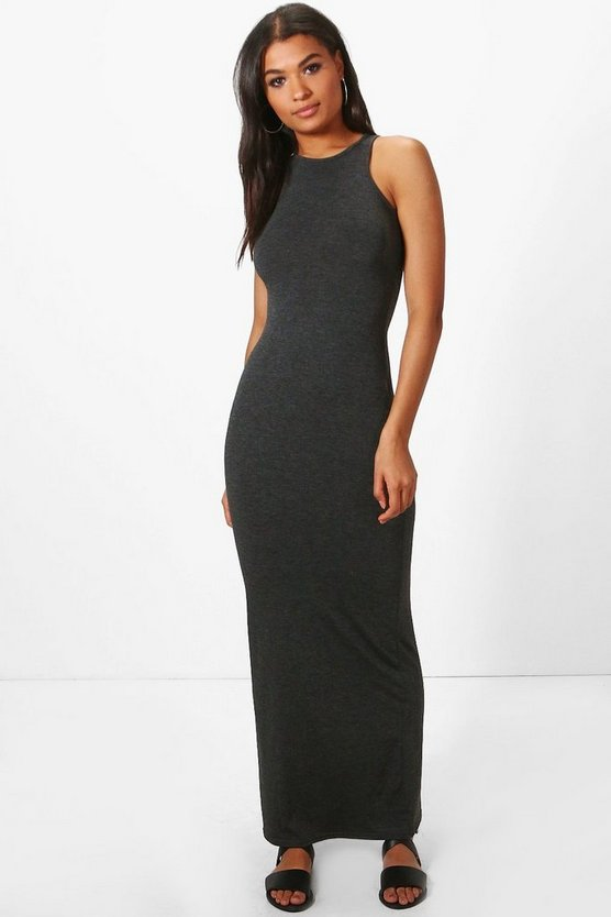 Womens Charcoal Racer Front Sleeveless Maxi Dress