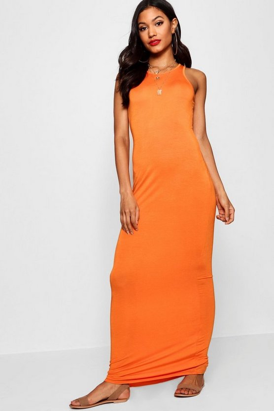 Womens Orange Racer Front Sleeveless Maxi Dress