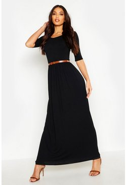Womens Black Scoop Neck Elasticated Waist Maxi Dress