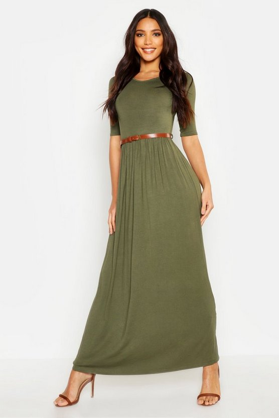 Scoop Neck Elasticated Waist Maxi Dress