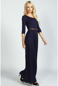 Womens Navy Scoop Neck Elasticated Waist Maxi Dress