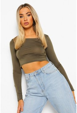 Khaki Basic Long Sleeve Crop Top