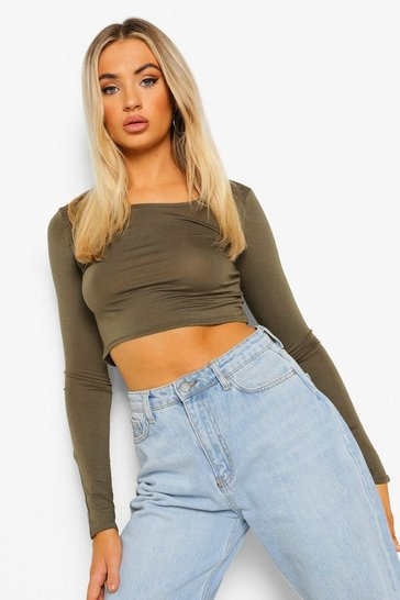 Womens Khaki Basic Long Sleeve Crop Top