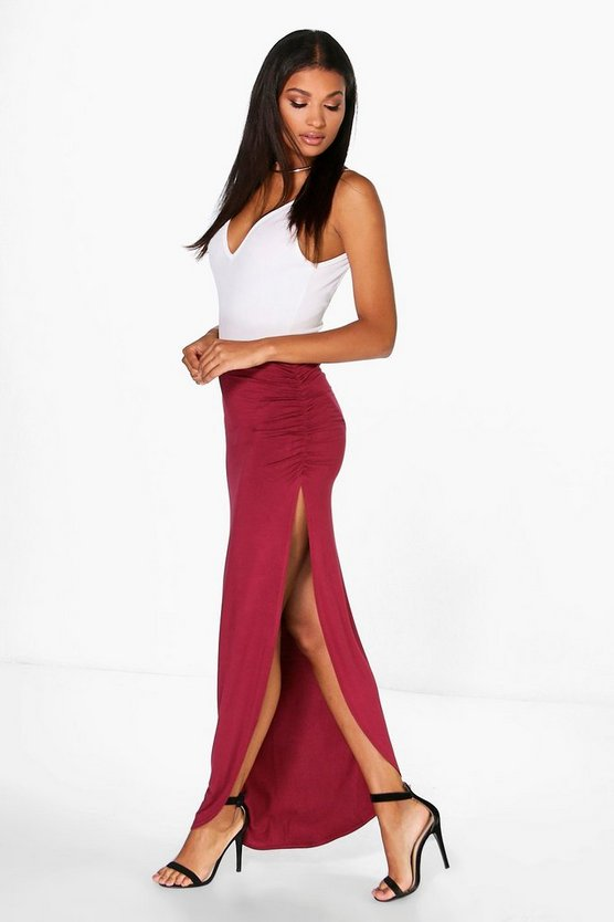Tamsin Ruched Side Jersey Maxi Skirt