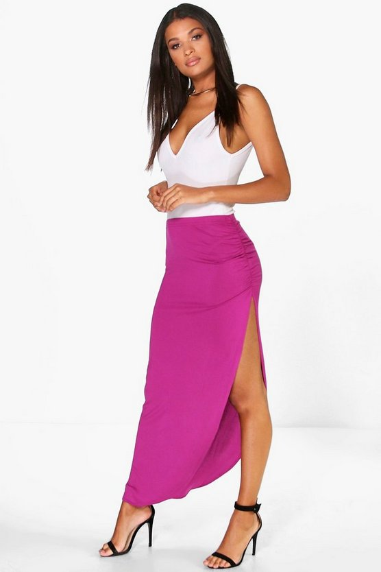 Womens Magenta Tamsin Ruched Side Jersey Maxi Skirt