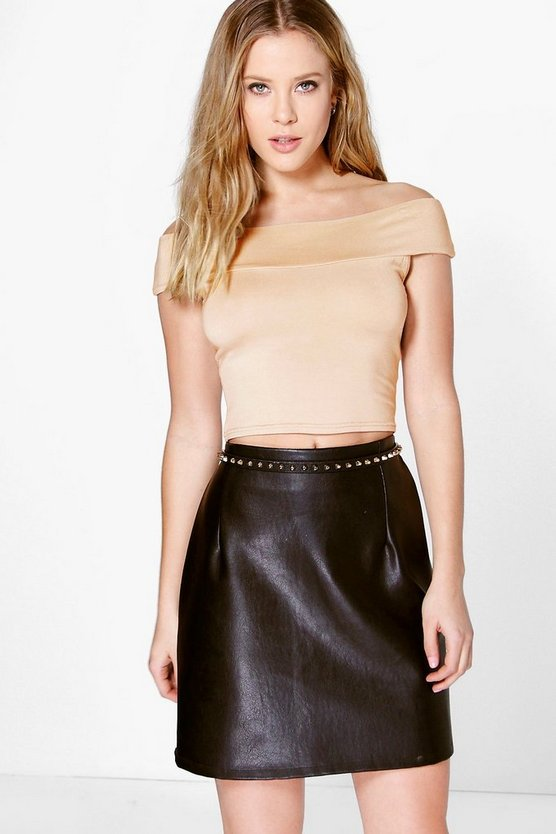 Womens Lilly Basic Off The Shoulder Crop Bardot Top