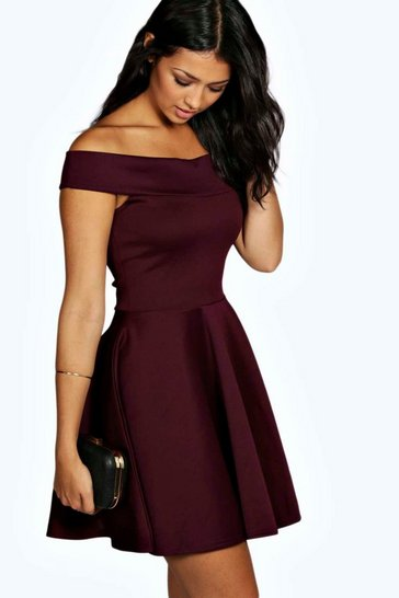 Womens Berry Off The Shoulder Skater Dress