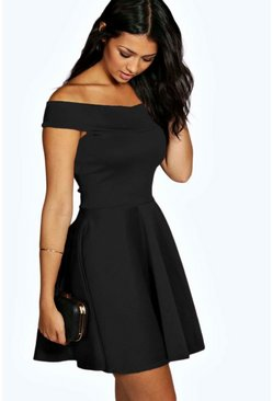 Black Off The Shoulder Skater Dress
