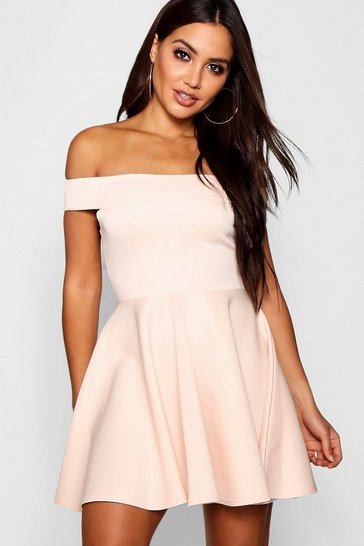 Womens Blush Off The Shoulder Skater Dress