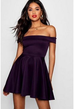 Womens Grape Off The Shoulder Skater Dress