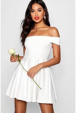 Womens Ivory Off The Shoulder Skater Dress