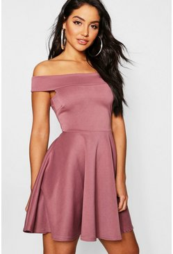 Womens Mauve Off The Shoulder Skater Dress