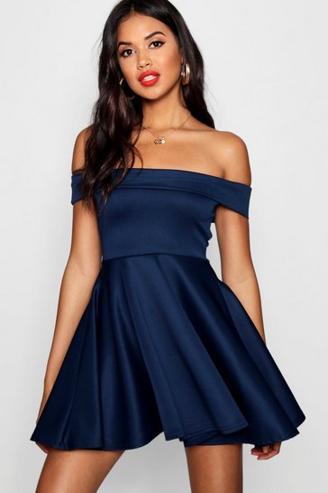 Womens Navy Off The Shoulder Skater Dress