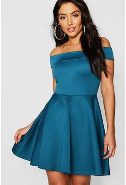 Teal Off The Shoulder Skater Dress