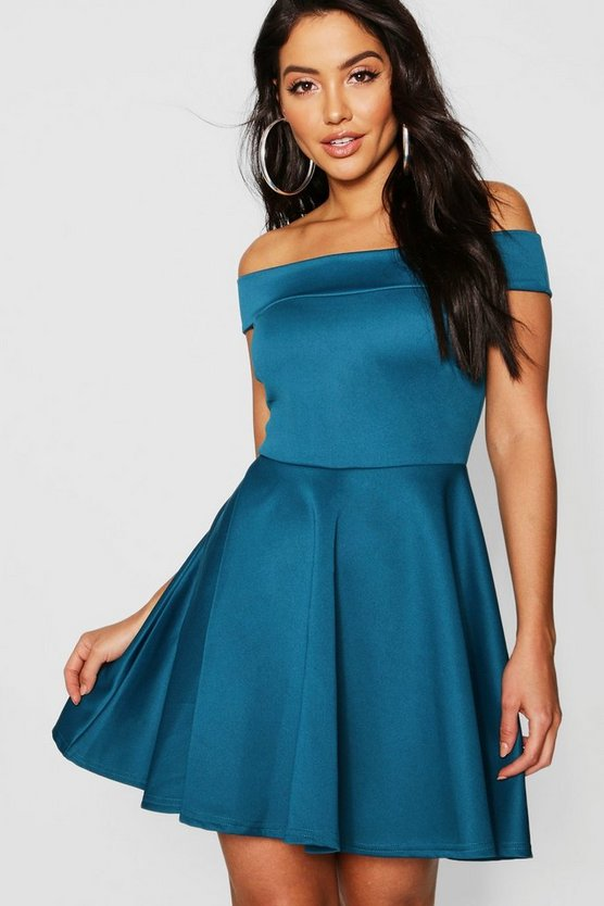 Womens Teal Off The Shoulder Skater Dress