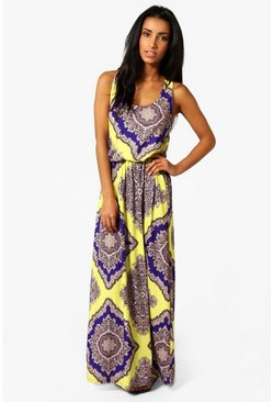 Womens Multi Neon Paisley Racer Back Maxi Dress