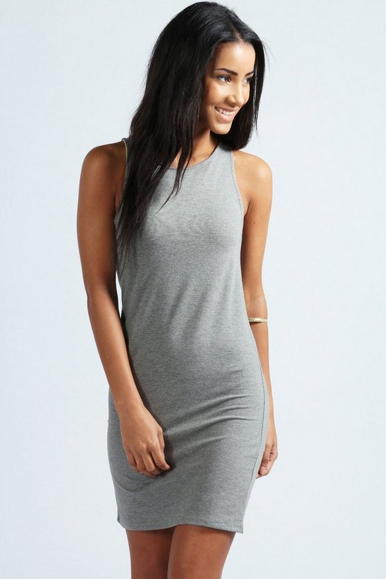 Racer Front Jersey Bodycon Dress