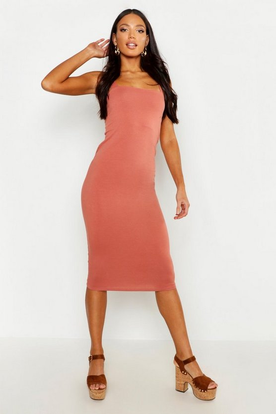 Womens Antique rose Square Neck Bodycon Midi Dress