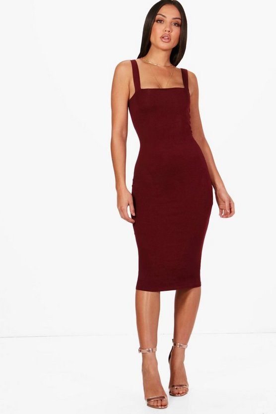 Womens Berry Square Neck Bodycon Midi Dress